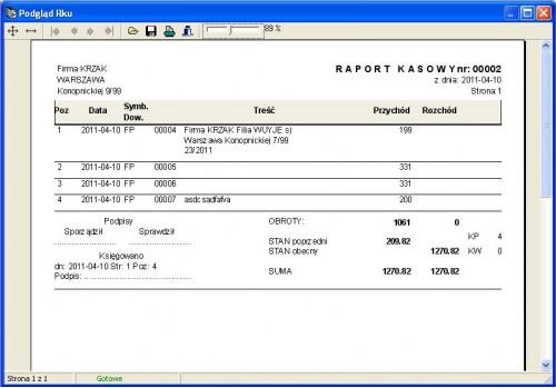 Przykładowy Raport kasowy