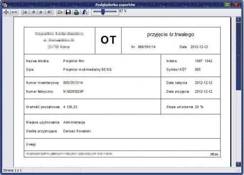 Podgląd wydruku dokumentu OT.