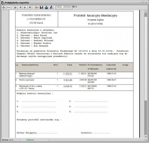 Podgląd wydruku dokumentu protokołu kasacji.