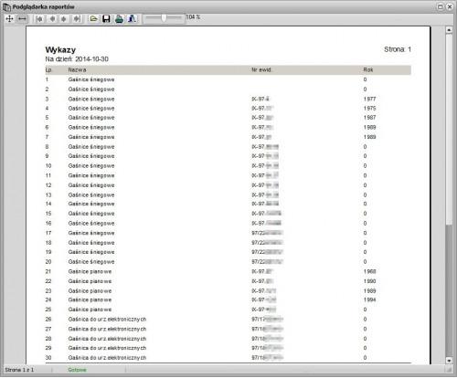Podgląd wydruku wykonanego przy pomocy funkcji dowolnych wykazów.