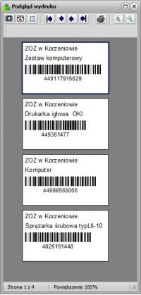 Podgląd wydruku etykiet